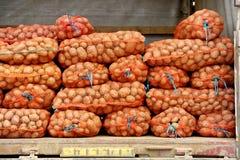 与Potatos的滤网袋子在卡车 免版税库存照片