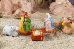 与provencal圣诞节小儿床形象的诞生场面 免版税库存照片