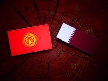 与Qatari旗子的吉尔吉斯斯坦旗子在被隔绝的树桩 图库摄影