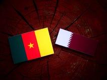 与Qatari旗子的喀麦隆旗子在被隔绝的树桩 免版税库存照片