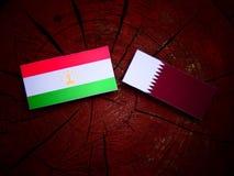 与Qatari旗子的塔吉克斯坦旗子在被隔绝的树桩 库存图片