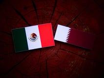 与Qatari旗子的墨西哥国旗在被隔绝的树桩 库存图片