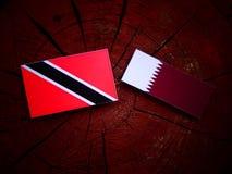 与Qatari旗子的特立尼达和多巴哥旗子在被隔绝的树桩 免版税库存图片