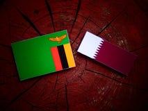 与Qatari旗子的赞比亚旗子在被隔绝的树桩 库存照片
