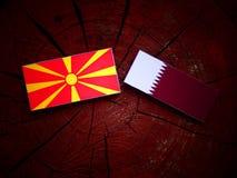 与Qatari旗子的马其顿旗子在被隔绝的树桩 库存照片