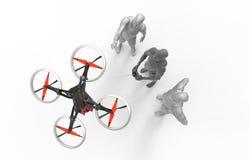 与quadcopter的三维人的戏剧 图库摄影