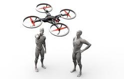 与quadcopter的三维人的戏剧 库存照片