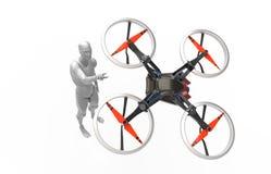 与quadcopter的三维人的戏剧 免版税库存照片