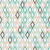 与rhombs的无缝的几何样式在一个手拉的样式 边界月桂树离开橡木丝带模板向量 免版税图库摄影