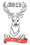 与ribbonr,被编织的图的Rendeer invitation new year 免版税库存图片