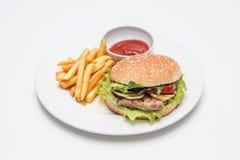 与ries和汉堡的盘 库存照片