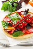 与rikotta、未加工的蕃茄和蓬蒿的自创馅饼 免版税库存照片