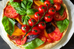 与rikotta、未加工的蕃茄和蓬蒿的自创馅饼 库存图片