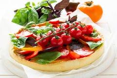 与rikotta、未加工的蕃茄和蓬蒿的自创馅饼 图库摄影