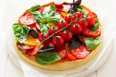 与rikotta、未加工的蕃茄和蓬蒿的自创馅饼 库存照片