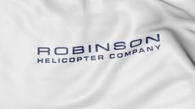 与Robinson Helicopter Company商标的挥动的旗子 社论3D翻译 免版税库存图片