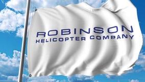 与Robinson Helicopter Company商标的挥动的旗子 Editoial 3D翻译 免版税图库摄影