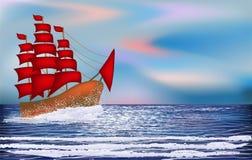 与sacrlet帆船的日出墙纸 库存照片