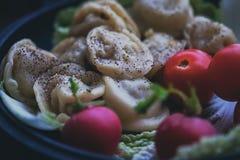 与salat的Damplings和地面胡椒和萝卜 免版税库存图片