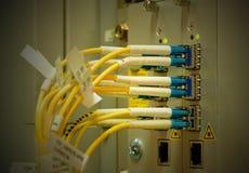 与SC/LC连接器的纤维光学 网络服务提供商eq 免版税库存照片