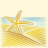 与seastar的海风景 免版税图库摄影