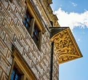 与sgrafito, Litomysl城堡,捷克共和国的新生门面 库存图片