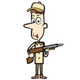 与猎枪的动画片猎人 免版税库存图片