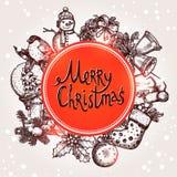 与Sketchs和字法的圣诞卡 免版税图库摄影