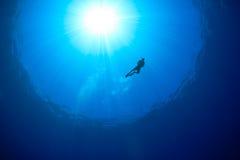 与snorkeller剪影的海洋表面旭日形首饰 免版税库存照片