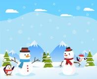 与Snowsman的冬天风景和圣诞树在Illustratio 库存例证