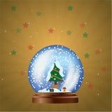 与snowtree,金背景的圣诞节球 库存图片