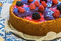 与softfruits的纽约乳酪蛋糕 图库摄影