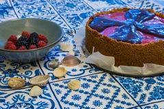 与softfruits的纽约乳酪蛋糕 库存照片