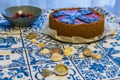 与softfruits的纽约乳酪蛋糕 库存图片