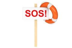 与SOS符号的救生圈 免版税图库摄影