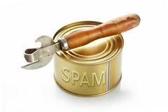 与SPAM的闭合的锡罐和在白色的一个开启者 库存图片