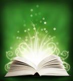 与sparklings的开放魔术书。 绿色 免版税图库摄影