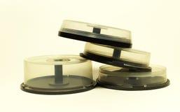 与spindel的存贮的光盘 小capasity箱子 免版税库存照片