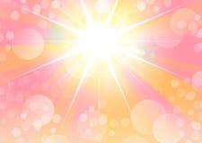 与starburst光和bokeh的桃红色画象背景 免版税库存图片