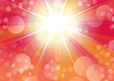 与starburst光和bokeh的红色画象背景 免版税库存照片