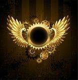 与Steampunk翼的圆的横幅 免版税库存照片