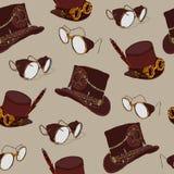 与steampunk高顶丝质礼帽和黄铜风镜的无缝的样式Steampunk 免版税库存图片