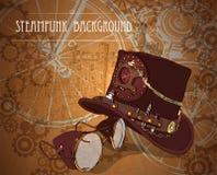 与steampunk高顶丝质礼帽和黄铜风镜的Steampunk背景 库存照片