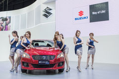 与suzuki汽车的未认出的模型在泰国国际马达商展2015年 免版税库存图片