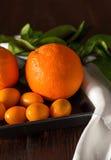 与tangerins的桔子在特写镜头 库存照片