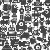 与techno妖怪和机器人的无缝的样式 免版税图库摄影