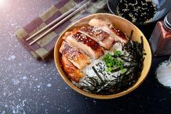 与teriyaki鸡格栅的米 库存照片