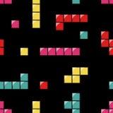 与tetris元素的无缝的样式 免版税库存图片