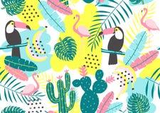 与toucan,火鸟、仙人掌和异乎寻常的叶子的热带无缝的样式 免版税库存图片