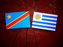 与Uruguaian旗子的刚果民主共和国旗子在t 库存图片